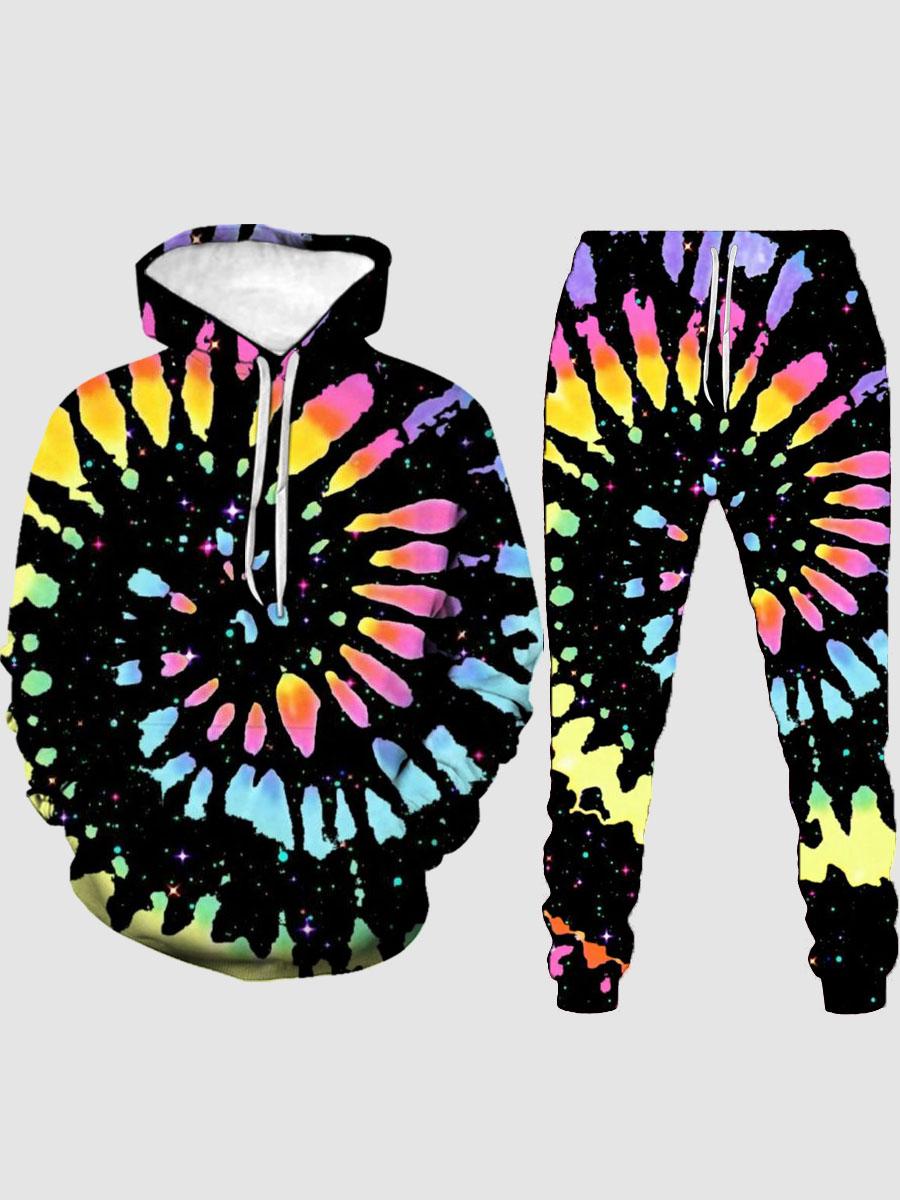 LW Men Tie-dye Kangaroo Pocket Tracksuit Set