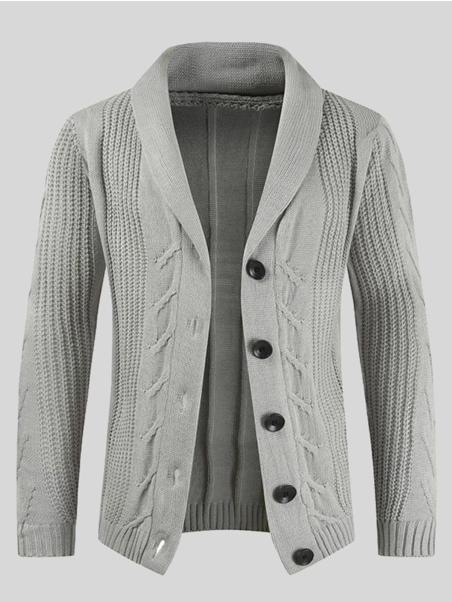 LW Men Rib-knit Button Design Sweater