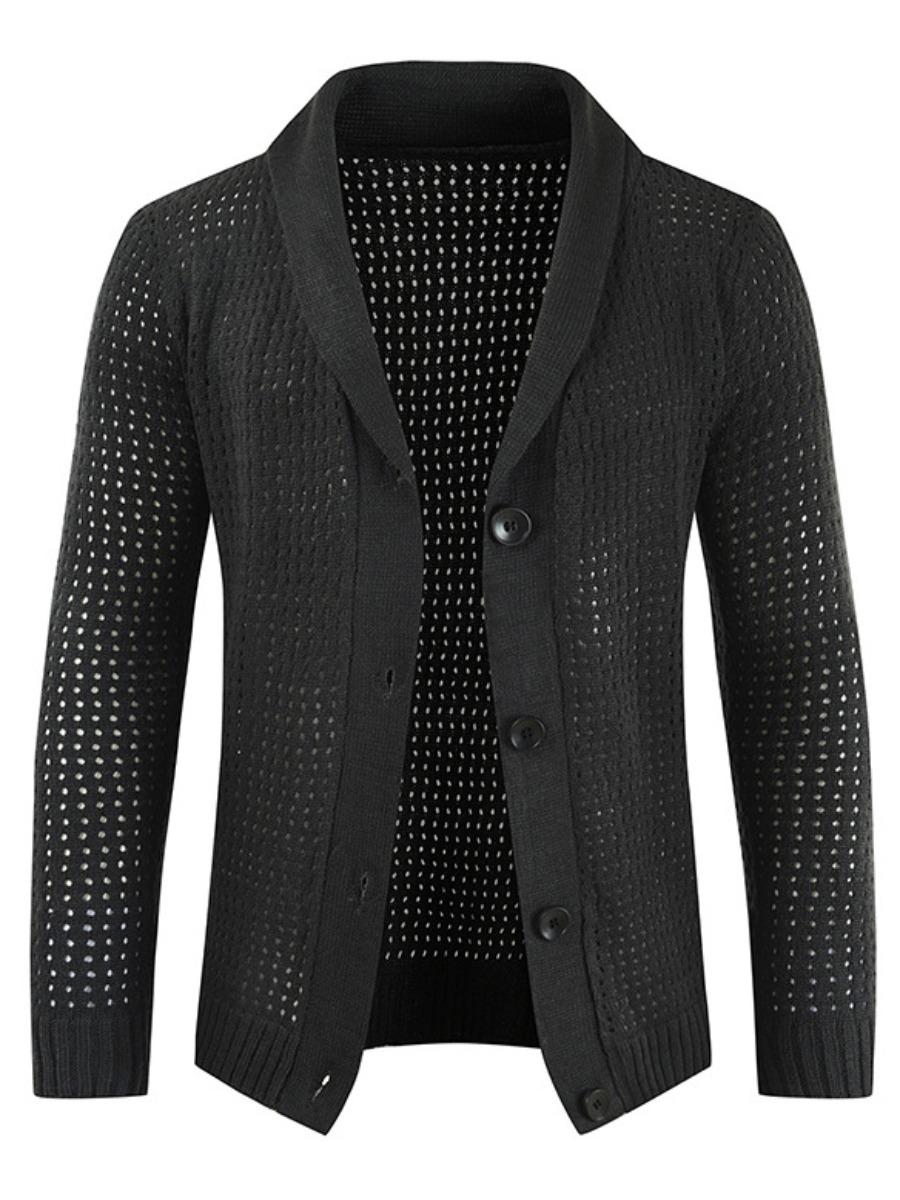 LW Men Button Design Hollow-out Sweater