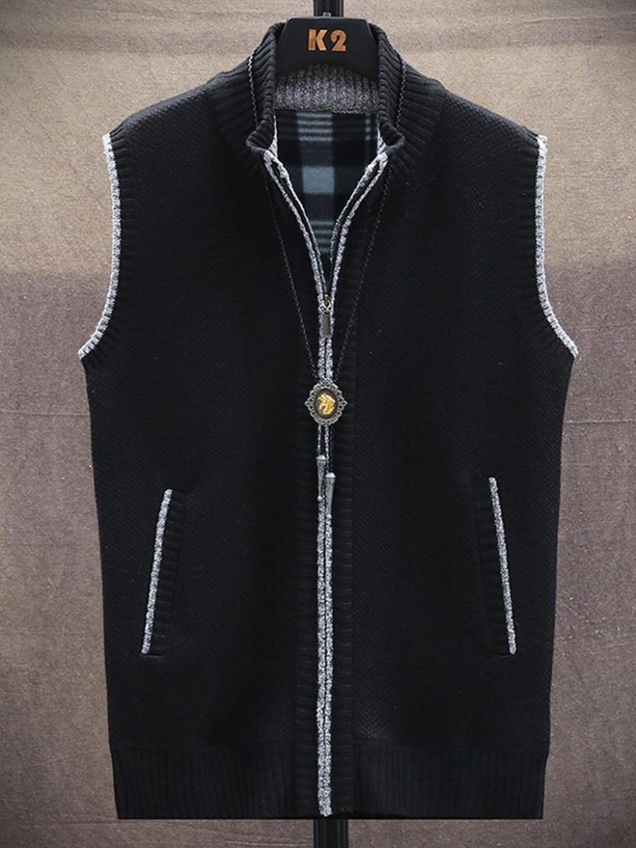 LW Men Mandarin Collar Pocket Design Sweater