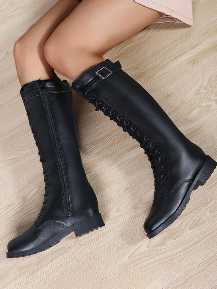LW Buckle Design High Boots