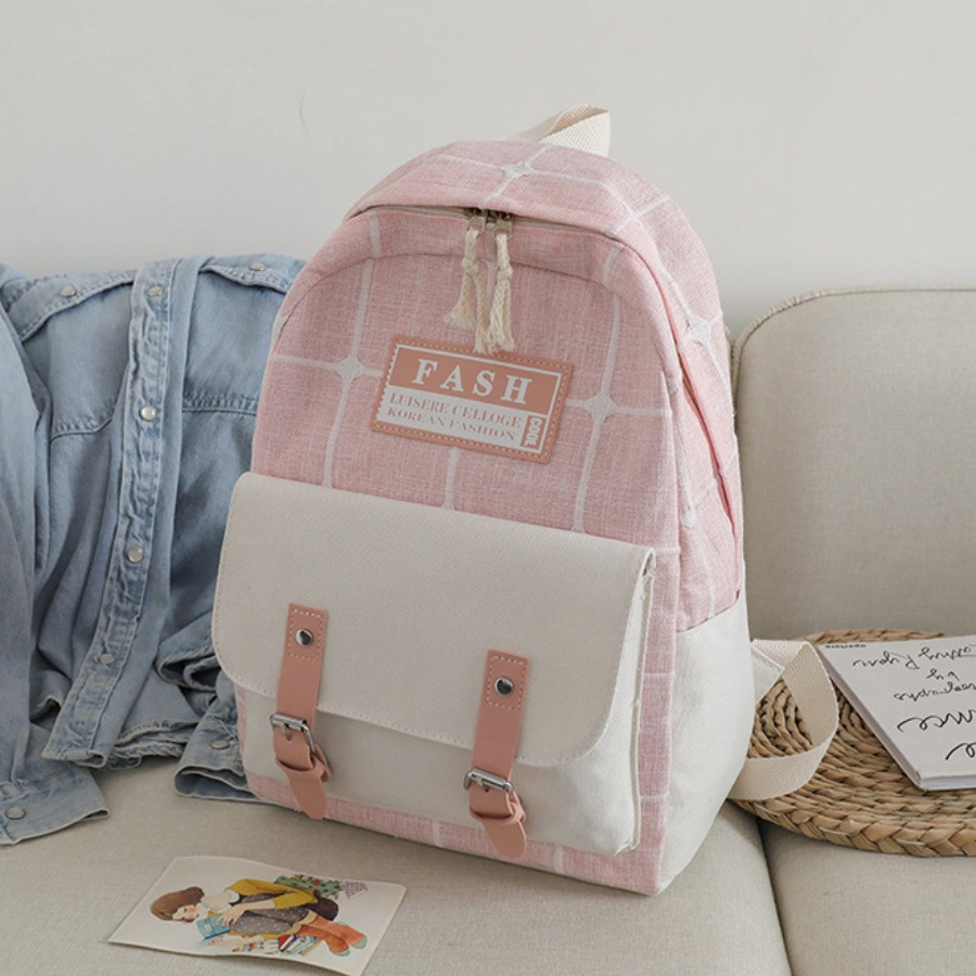 LW Plaid Letter Print Buckle Backpack