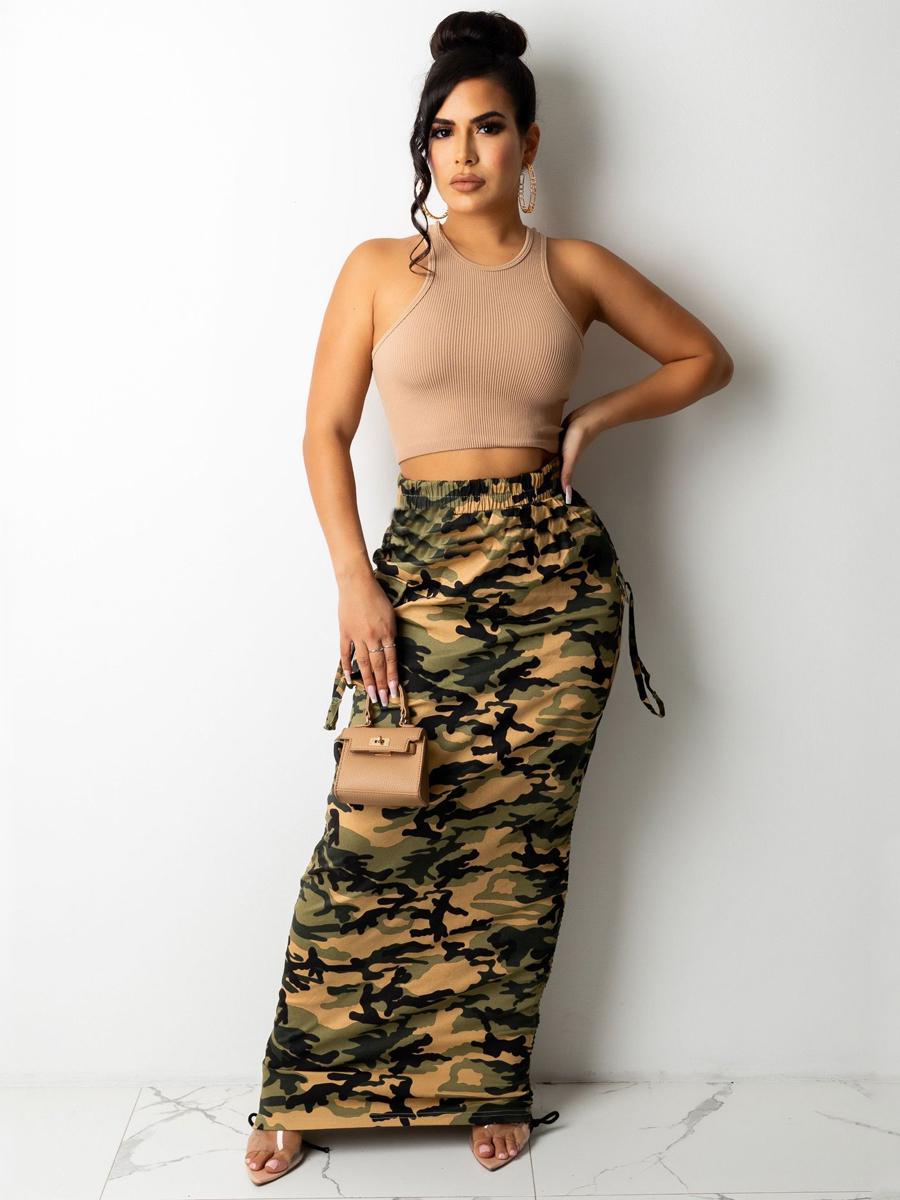 Lovely Camo Print Drawstring Skirt