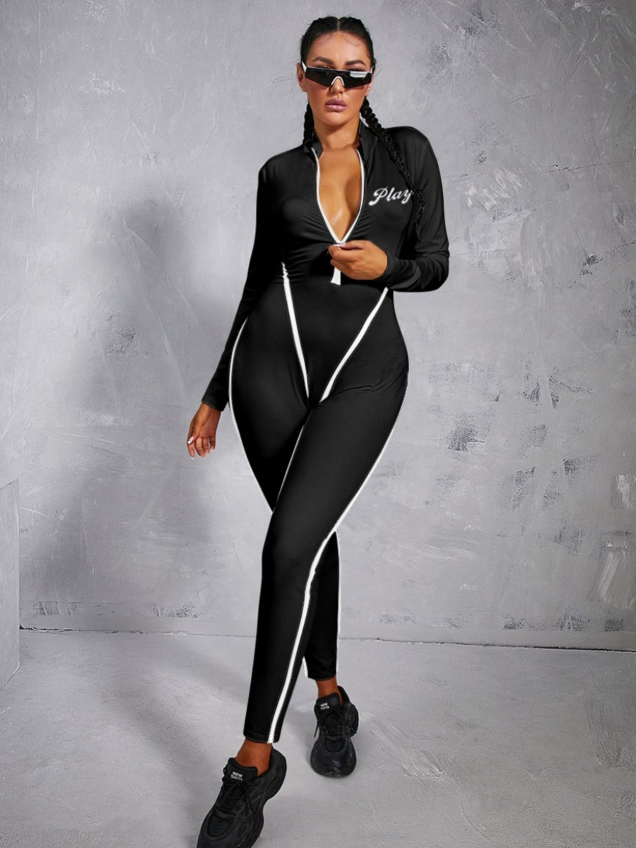 LW Letter Print Zipper Design Striped Jumpsuit