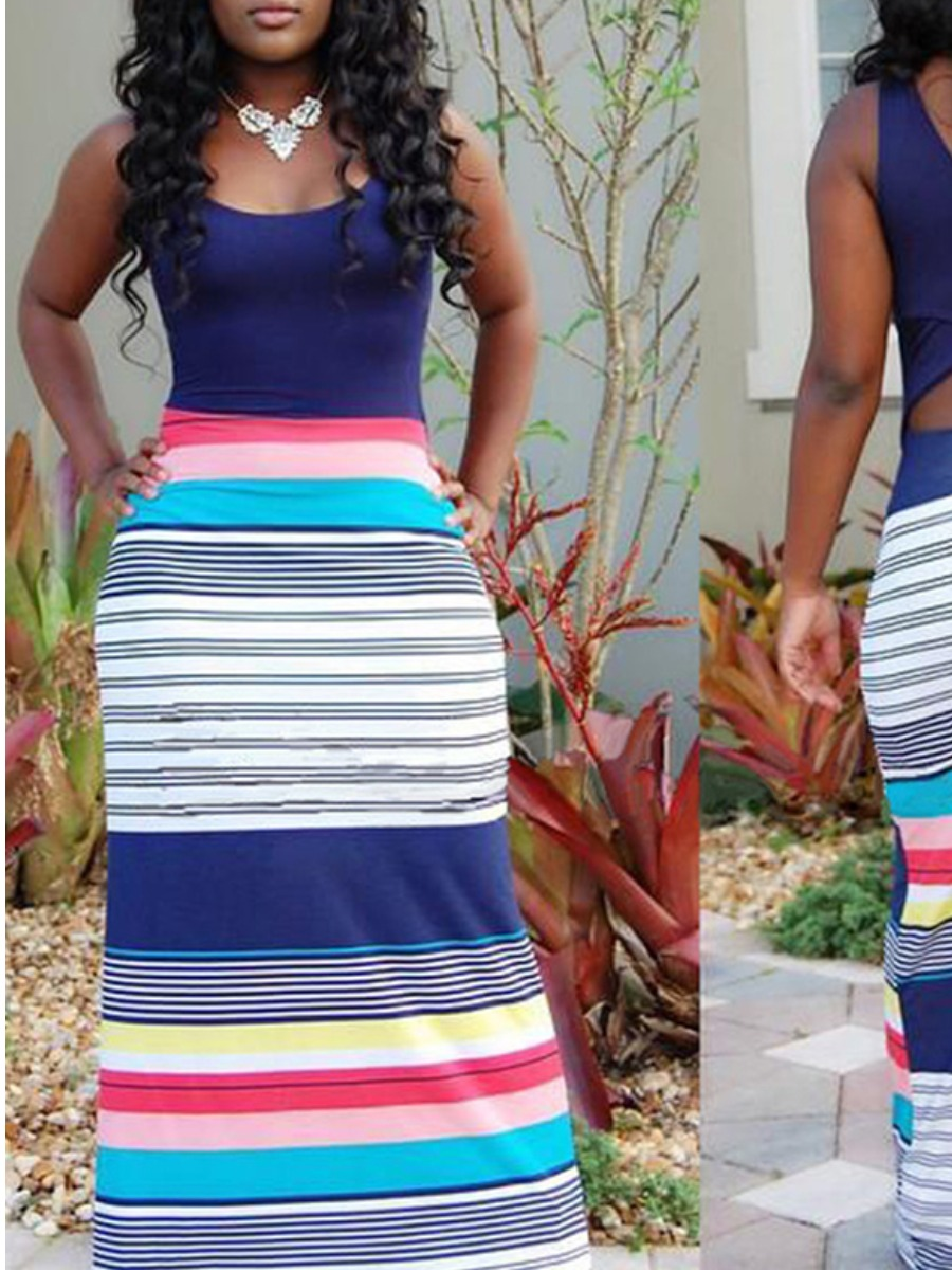LW Striped Hollow-out A Line Dress