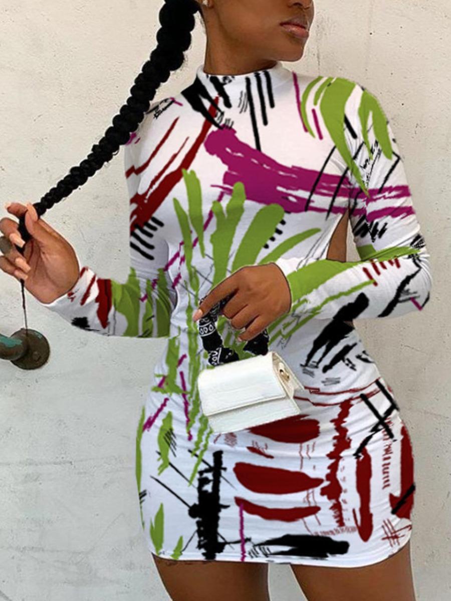 LW SXY Mixed Print Backless Bodycon Dress