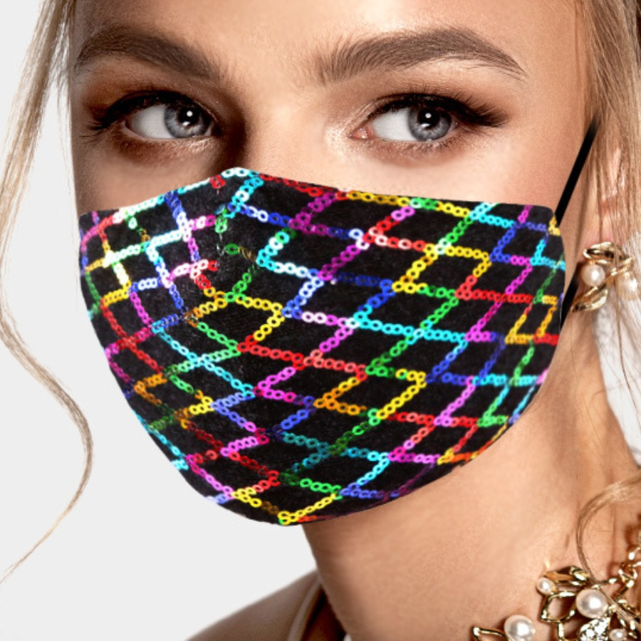 LW COTTON Sequined Patchwork Face Mask