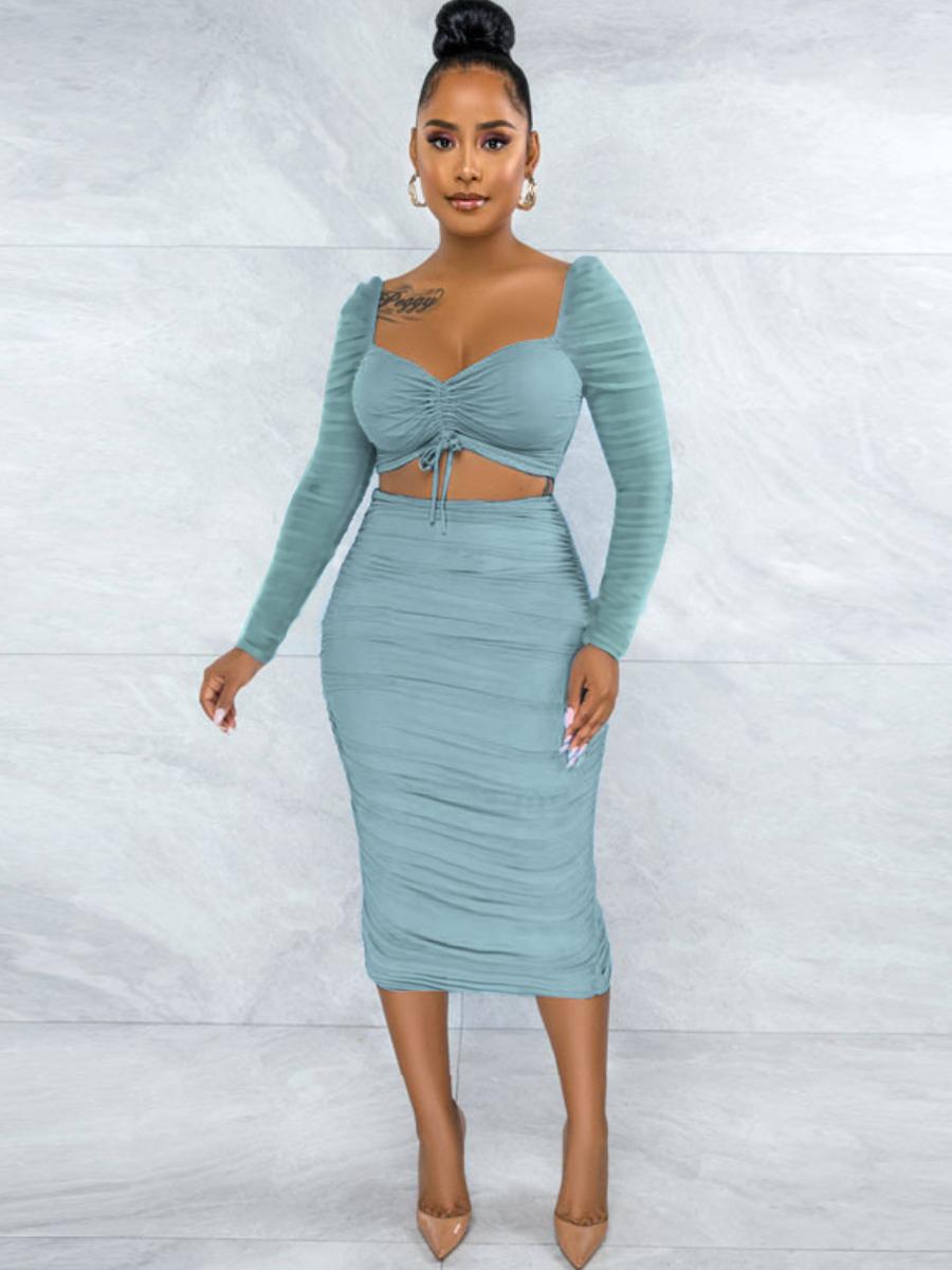 LW SXY See-through Ruched Drawstring Skirt Set