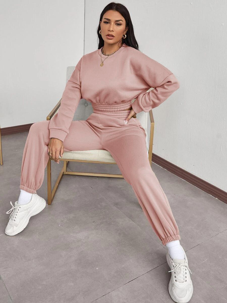 Lovely Round Neck Pocket DesignTracksuit Set