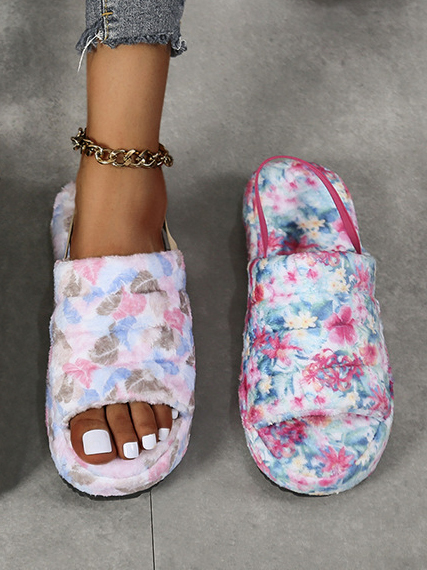 LW Floral Print Plush Slippers