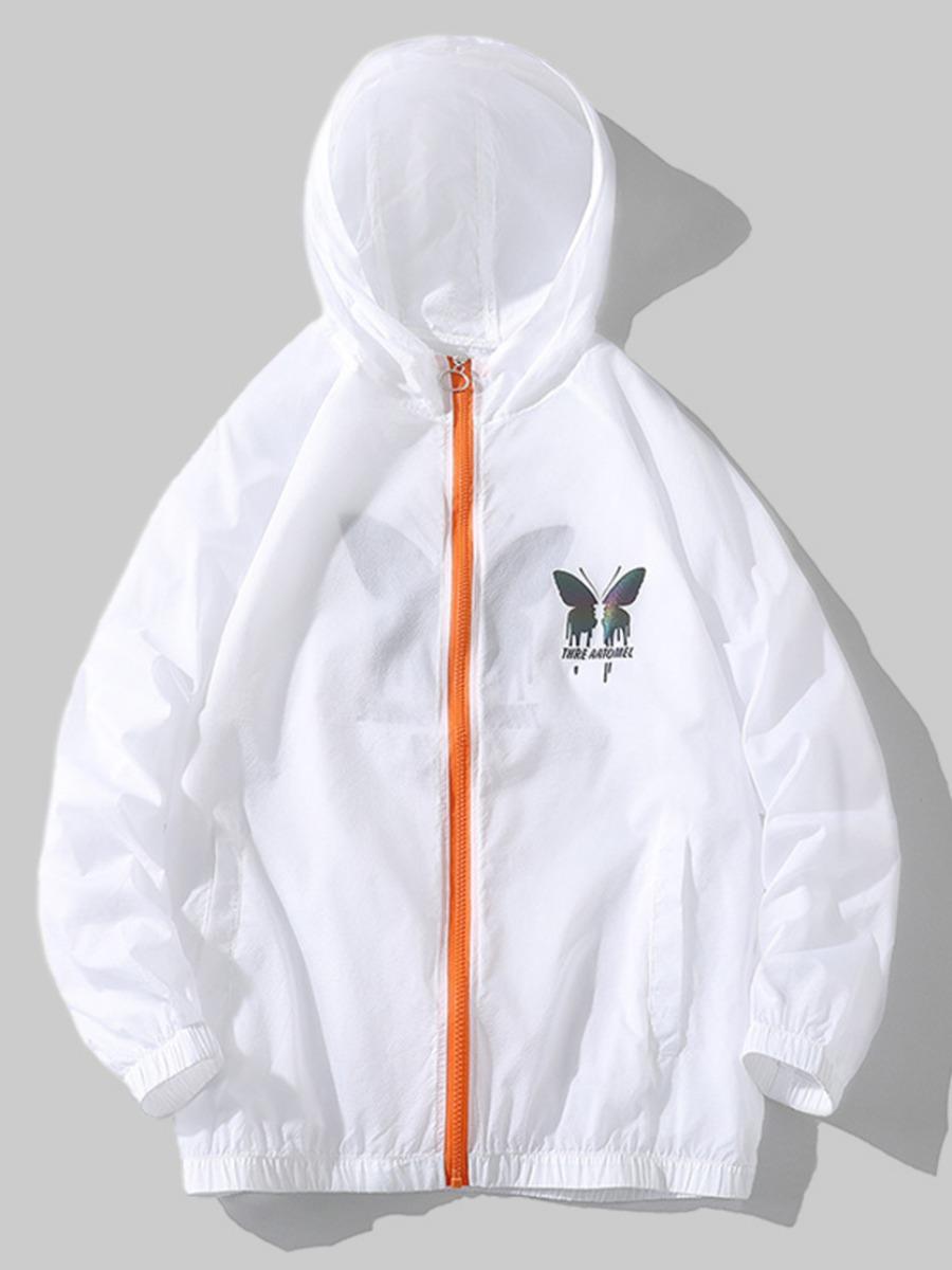 LW BASICS Men Butterfly Print Zipper Design Jacket