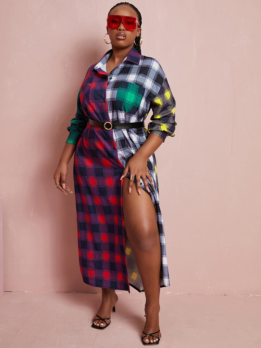 LW Plus Size Plaid Print Patchwork Shirt Dress
