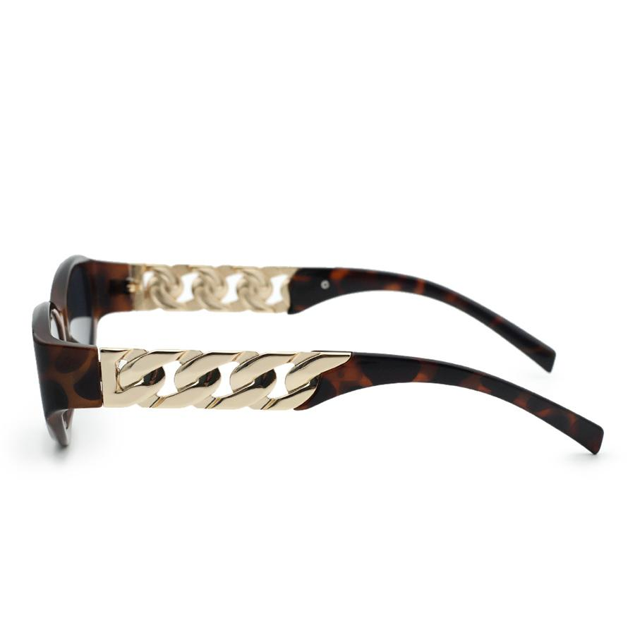 LW Oval-shaped Metal Accessories Decoration Sunglasses