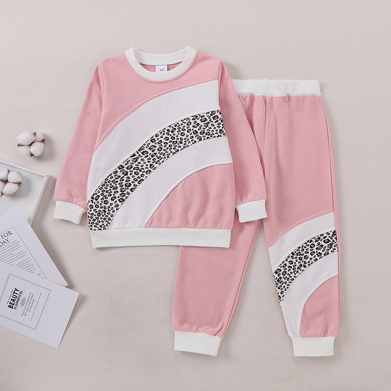 LW COTTON Girl Leopard Print Patchwork Pants Set