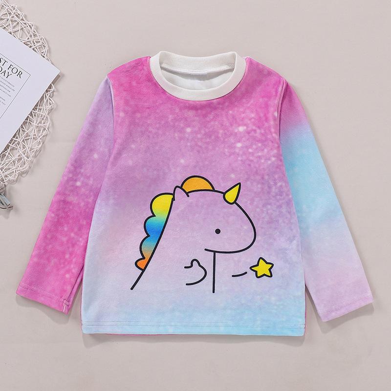 LW COTTON Girl Cartoon Print Tie-dye Sweatshirt