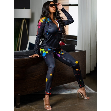 LW Casual Graffiti Print Zipper Design Black Two Piece Pants Set