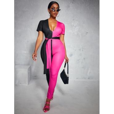 LW Color-lump Bandage Design One-piece Jumpsuit