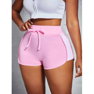 LW COTTON Sporty Color-lump Drawstring Pink Shorts