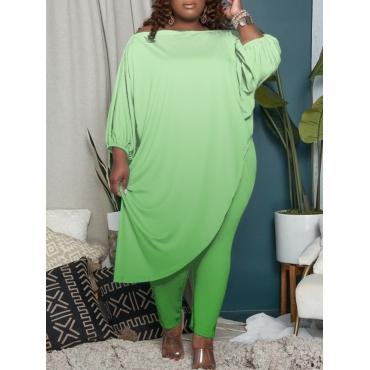 LW BASICS Plus Size Gradient Asymmetrical Pants Set