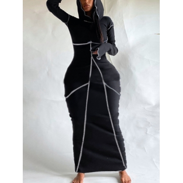 Lovelywholesale coupon: LW Casual Hooded Collar Striped Black Ankle Length Dress