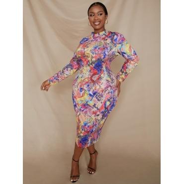 LW Plus Size Round Neck Cobra Print Bodycon Dress