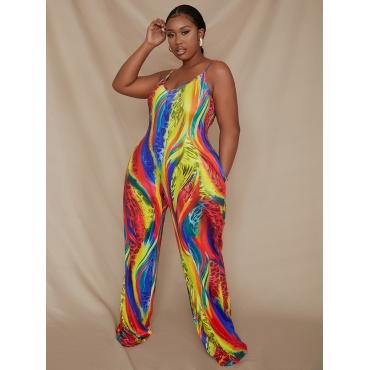 LW Plus Size Leopard Print Rainbow Striped Jumpsuit