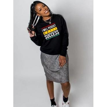 LW BASICS Round Neck Letter Print Sweatshirt