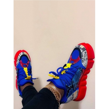 LW Sporty Animal Print Red Sneakers