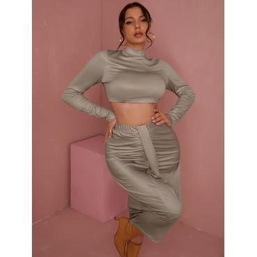 LW Fold Solid Regular Two-piece Skirt Set