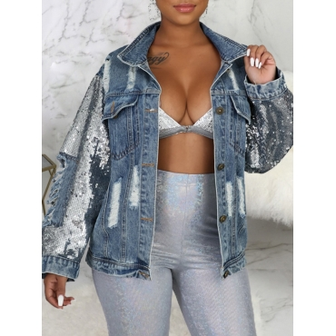 LW BASICS Sequined Ripped Denim Jacket