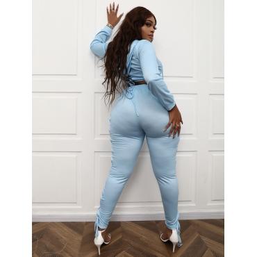 Lovely Plus Size Sexy Bandage Design Crop Top Pants Set