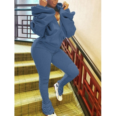 LW Sportswear Hooded Collar Fold Design Blue Two Piece Pants Set