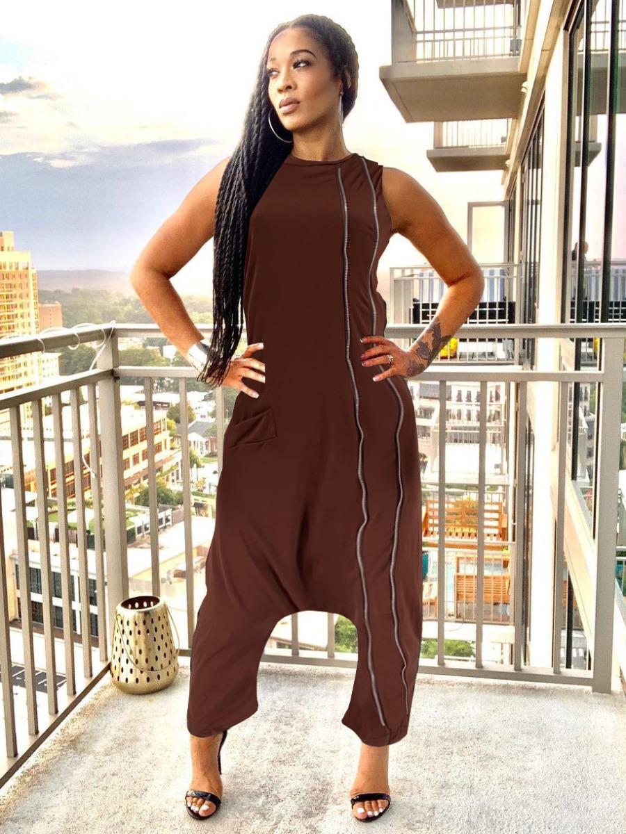 LW Pocket Design Striped Baggy Jumpsuit