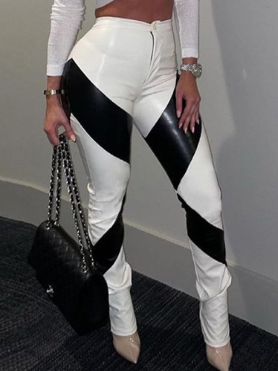 LW Leather Striped  Patchwork Skinny Pants
