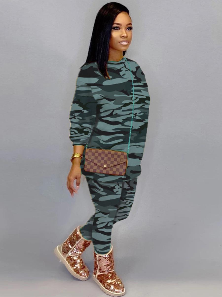 LW Sweat Pullover Camo Print Pants Set