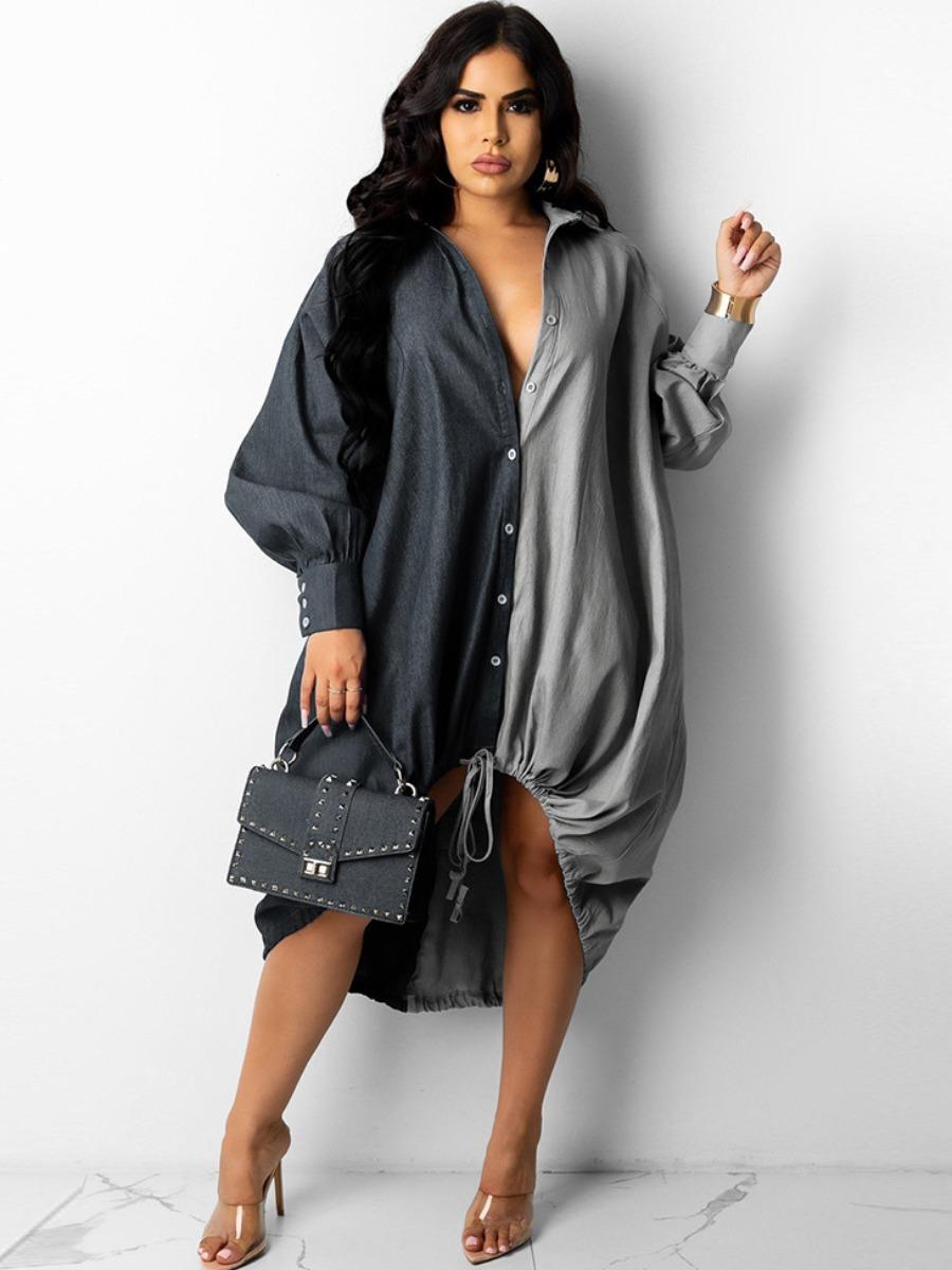 LW Drawstring Patchwork Shirt High Low Dress
