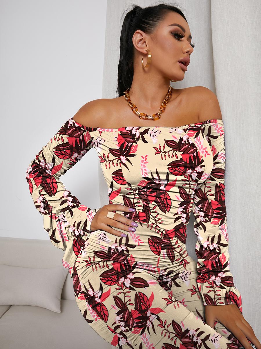 LW SXY Off The Shoulder Floral Print Jumpsuit (Without Belt)