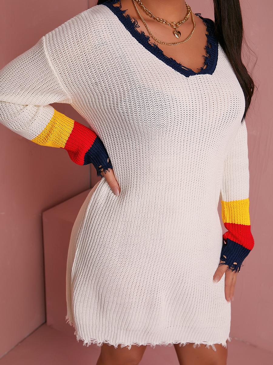 LW Striped Raw Edge Design Dress