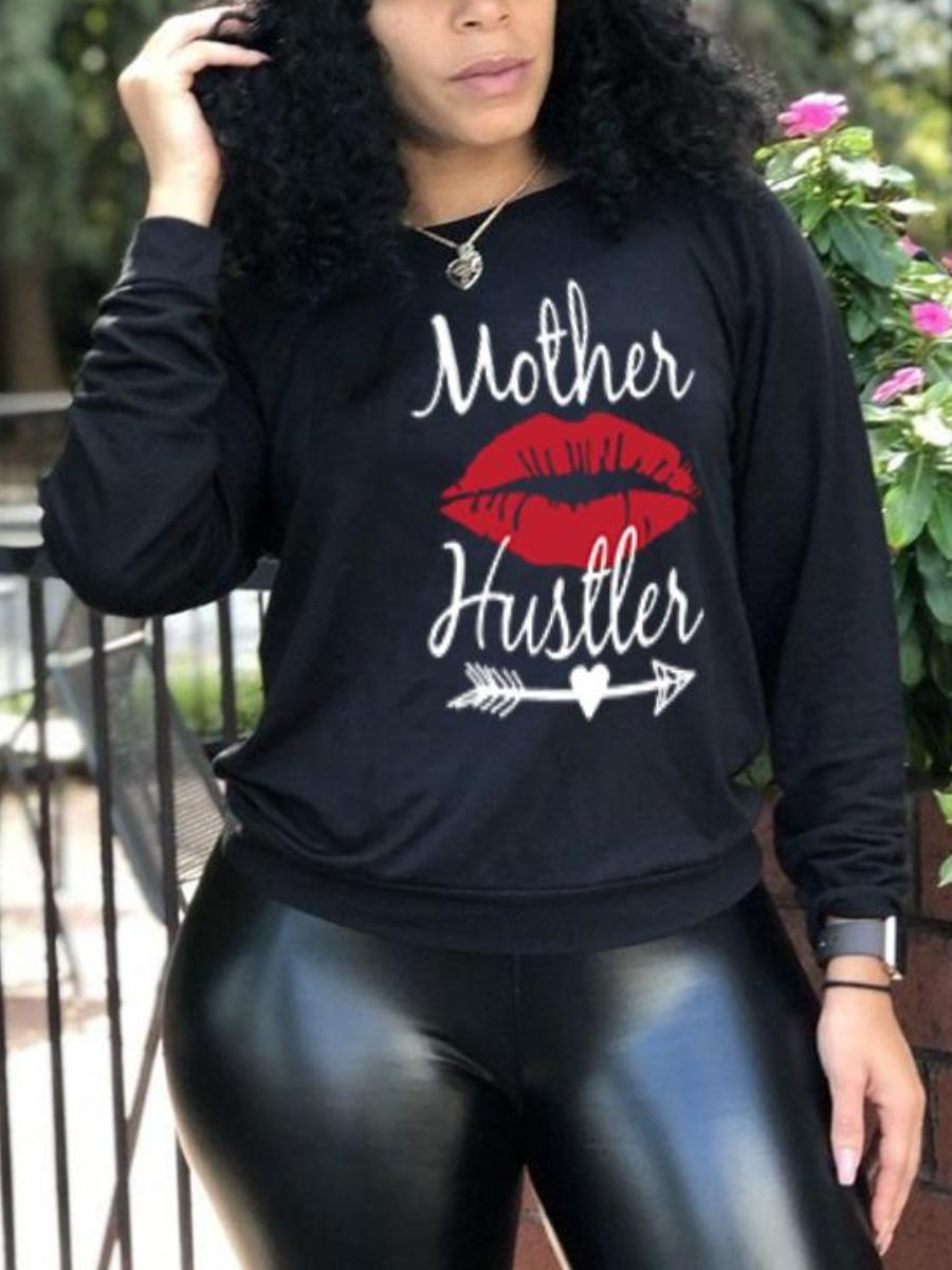 LW BASICS Round Neck Lip Letter Print Sweatshirt