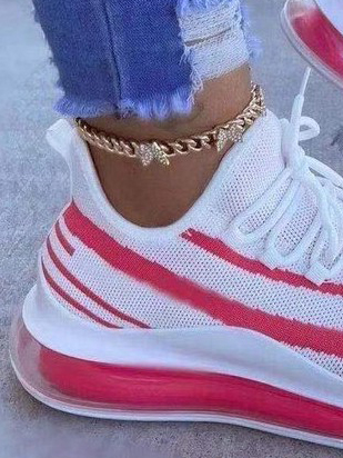 LW Sporty Striped Mesh Breathable Sneakers