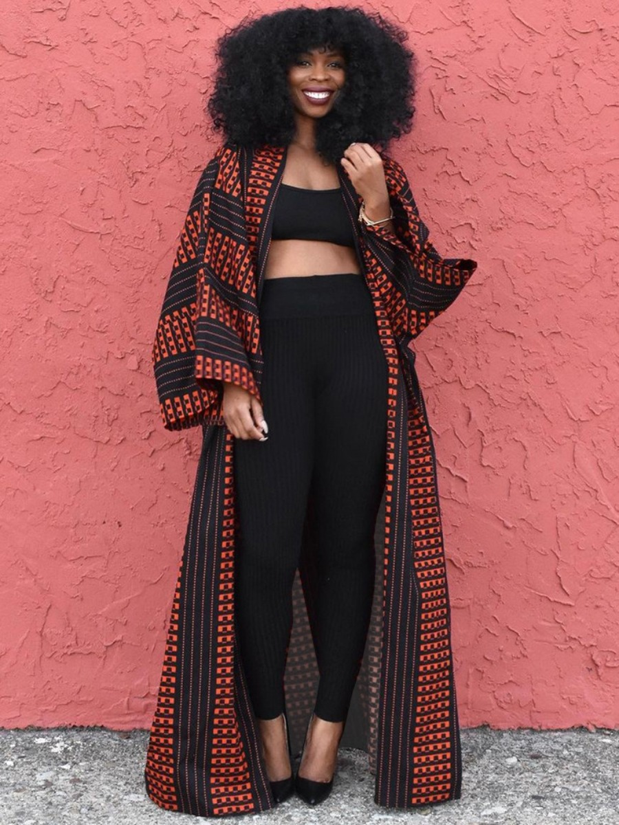 LW Casual Striped Patchwork Loose Coat