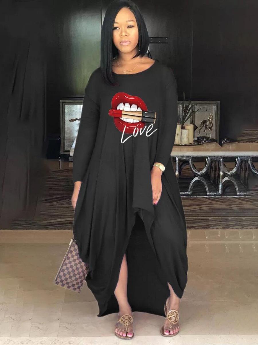 LW Casual Lip Print Asymmetrical Dress