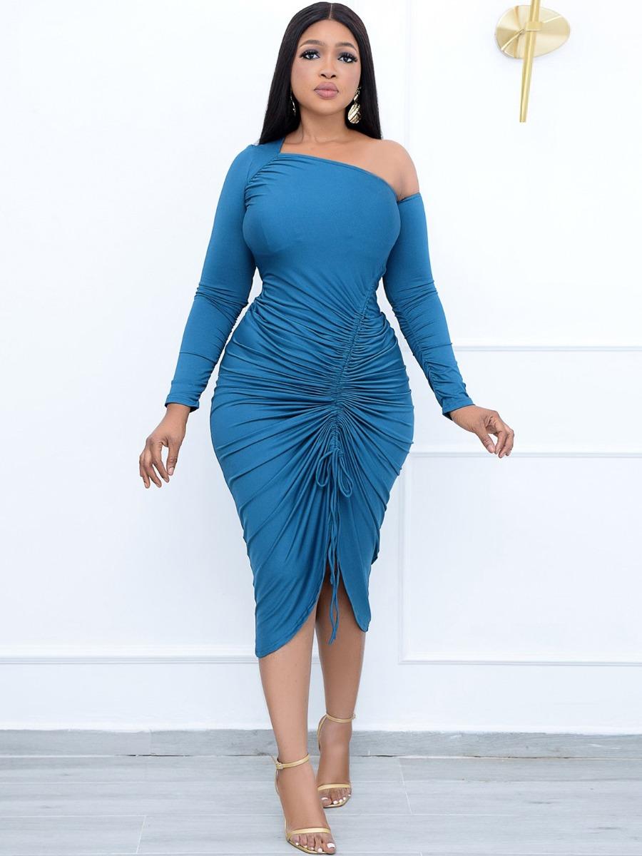 LW SXY Drawstring Ruched Asymmetrical Dress