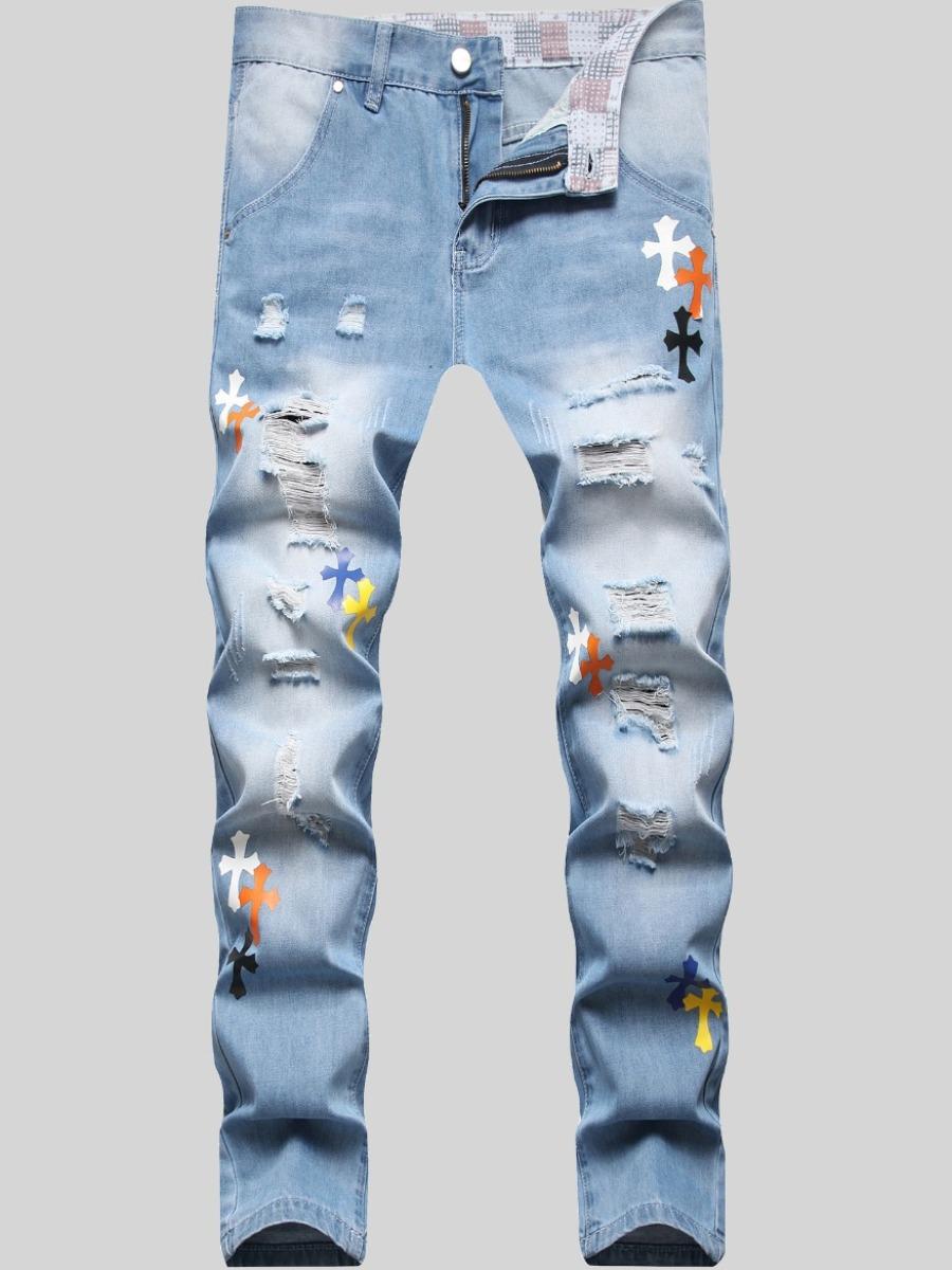 LW Men Casual Ripped Gradient Print Denim Jeans