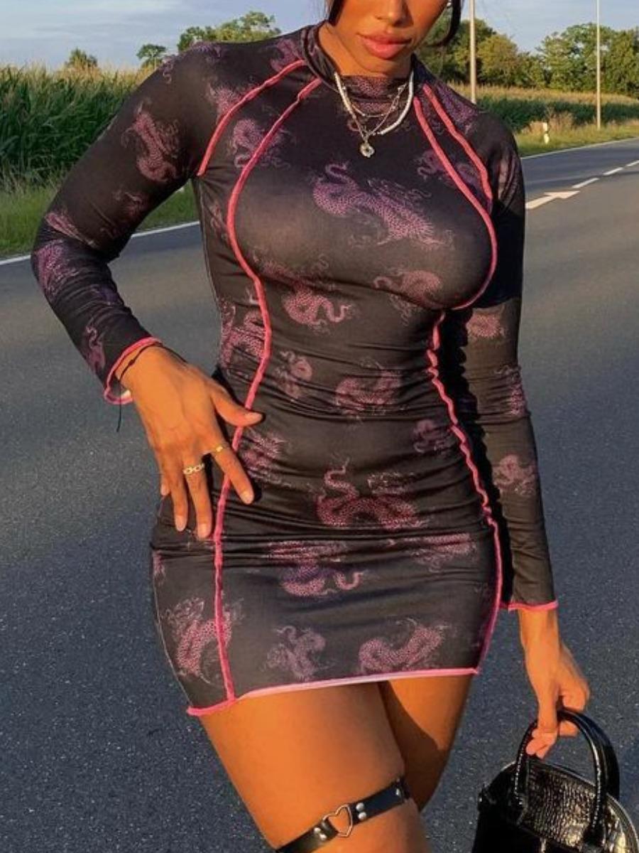 LW SXY Animal Print Lettuce Trim Bodycon Dress
