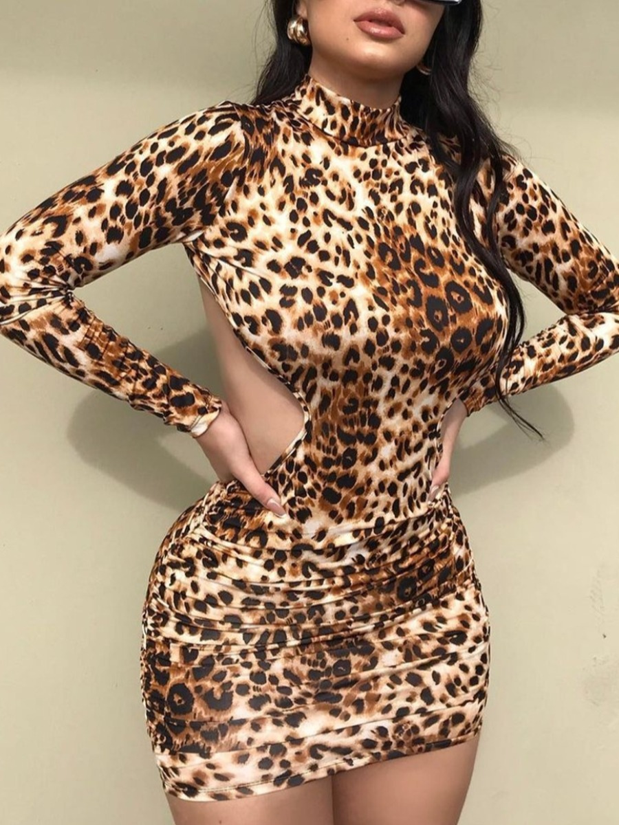 LW SXY Leopard Print Backless Bodycon Dress