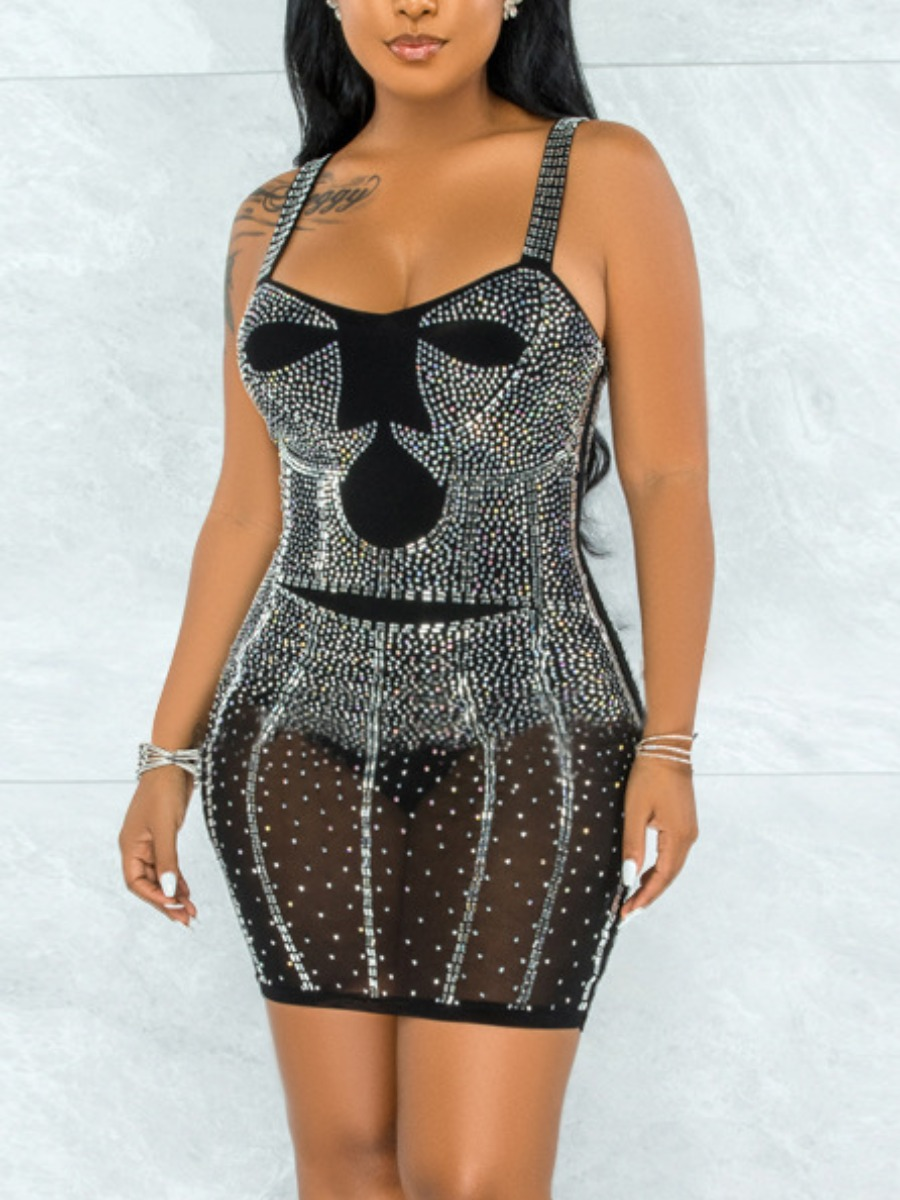 LW SXY Sequined See-through Bodycon Cami Prom Dress
