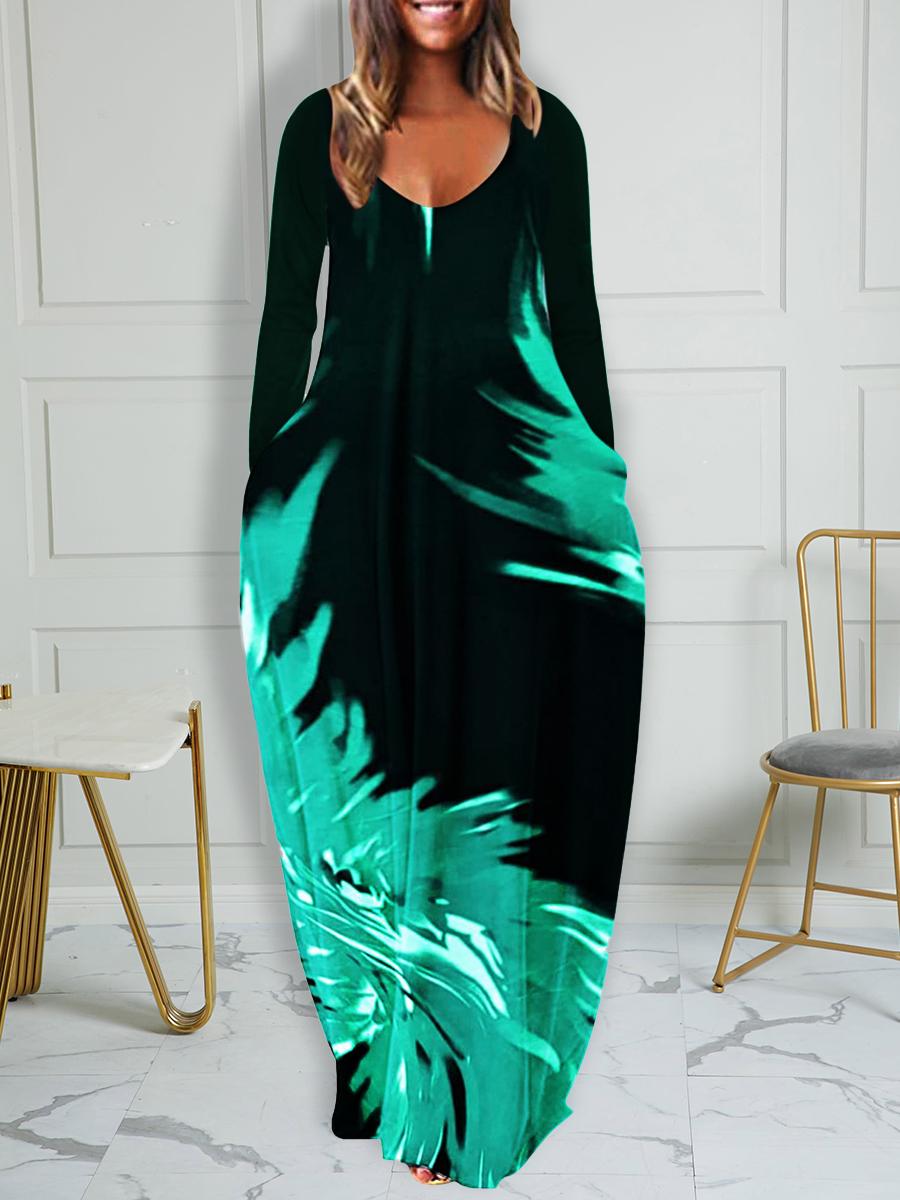 LW Plus Size Feather Print Pocket Design Dress