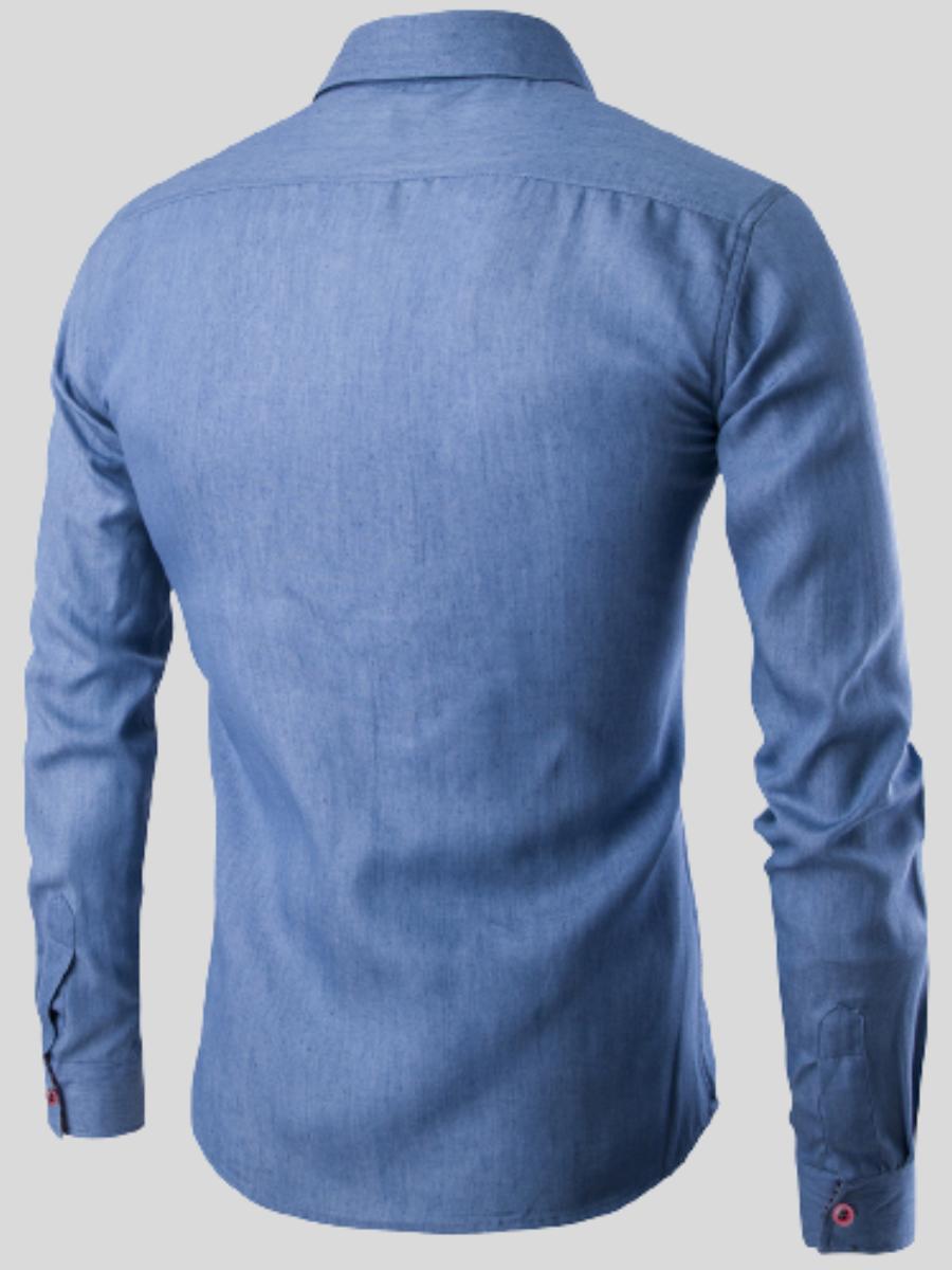 LW Men Casual Button Design Basic Denim Shirt