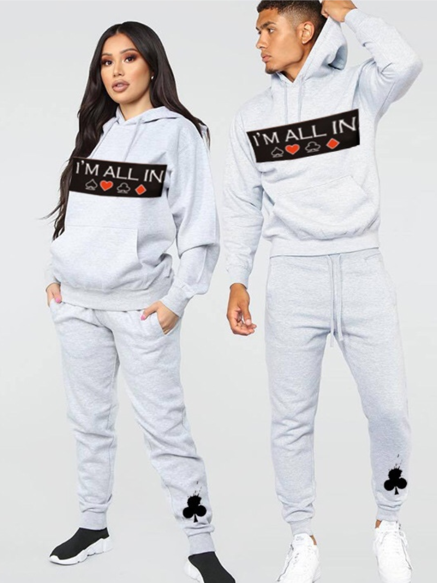Lovelywholesale coupon: LW Men Leisure Hooded Collar Print Grey Pants Set
